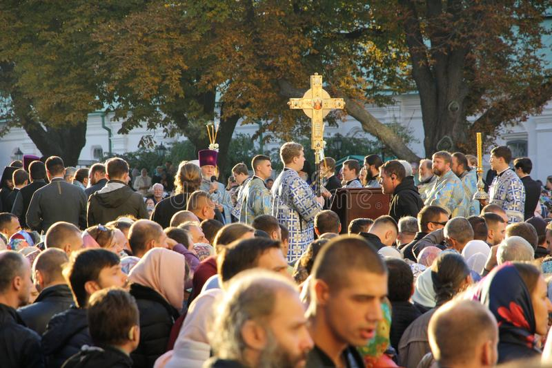 Celebration of the feast of the Protection of the Virgin in Kiev. royalty free stock photos