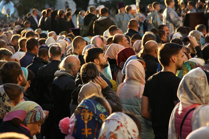 Celebration of the feast of the Protection of the Virgin in Kiev. stock photo
