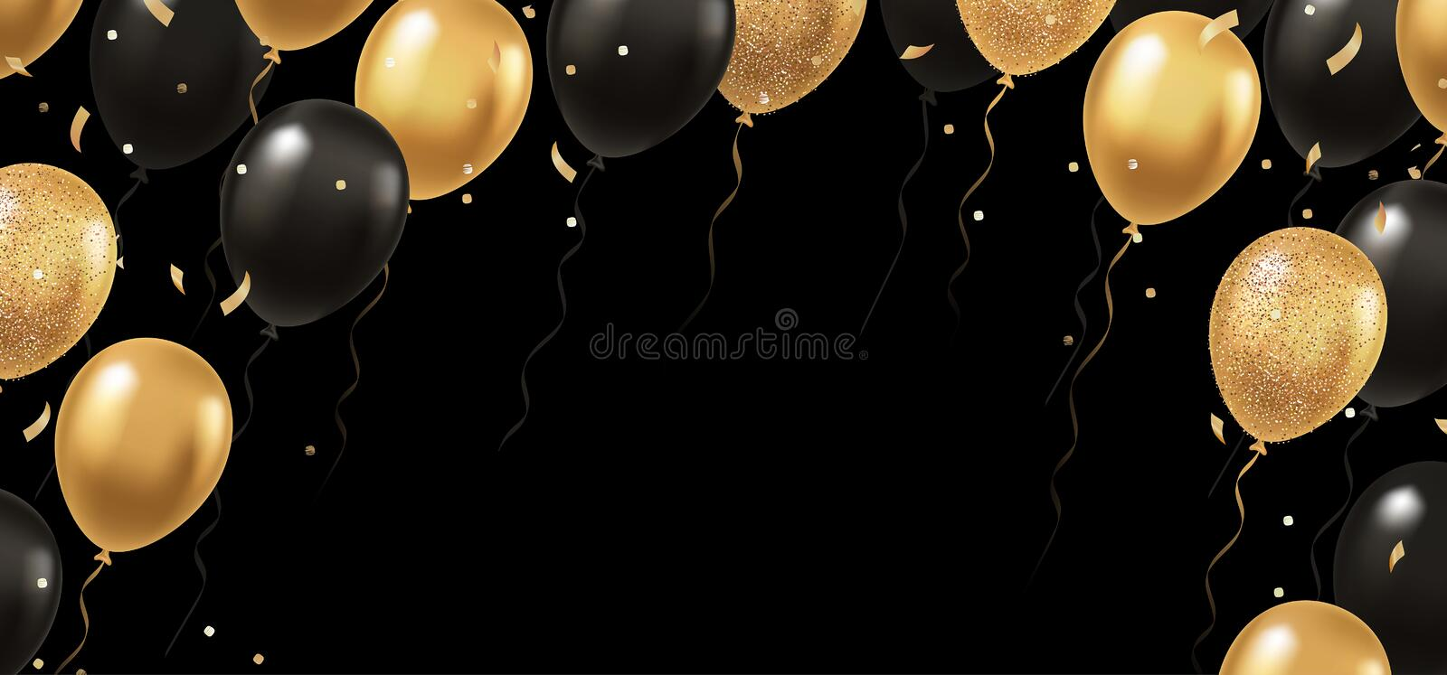 Celebration, festival background with gold and black realistic 3d vector flying balloons stock illustration