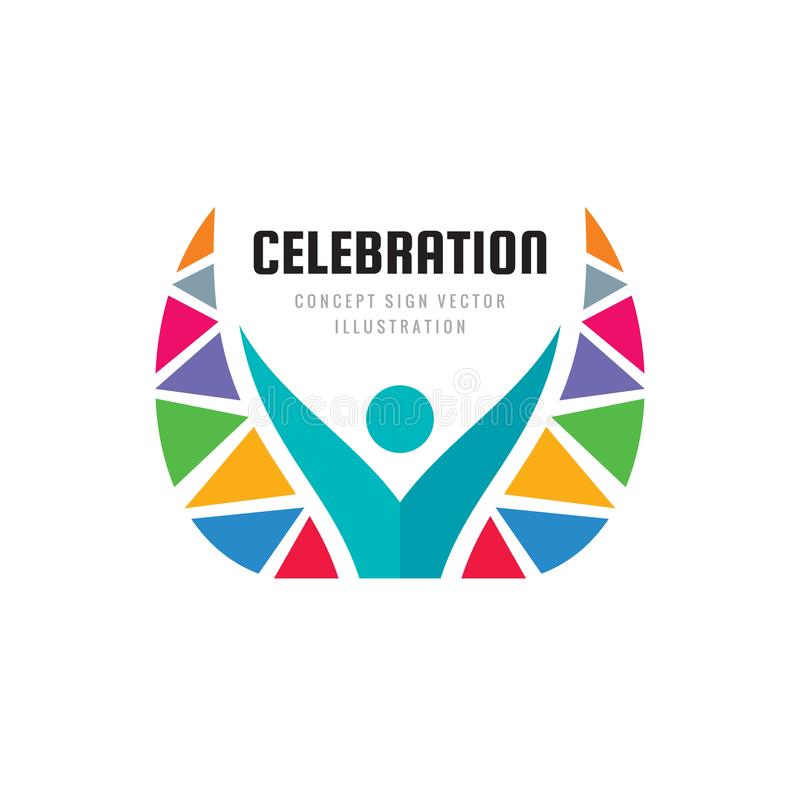 Celebration festival - concept business logo template vector illustration. Abstract human character creative sign. Angel with wing. S symbol. Optimism positive vector illustration
