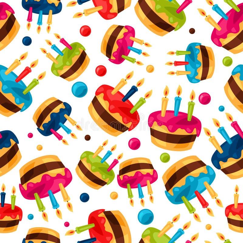 Celebration festive seamless pattern with birthday. Cakes vector illustration