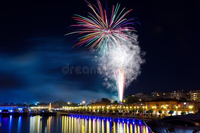 Celebration fireworks at Floisvos marina royalty free stock photography