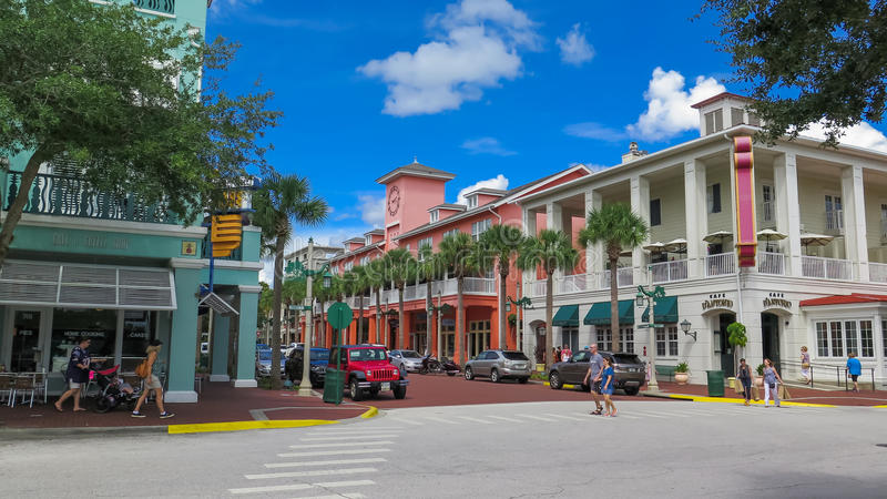 Celebration Florida Shopping District stock images
