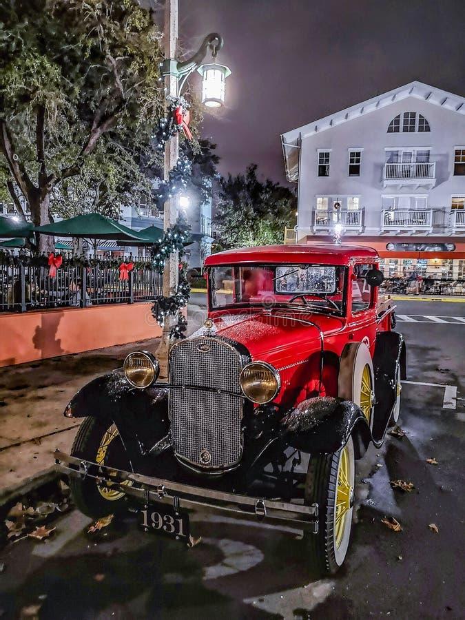 CELEBRATION, FLORIDA, USA - DECEMBER, 2018: Beautiful Vintage red old car on the streets. At Christmas Season, near Orlando stock photo