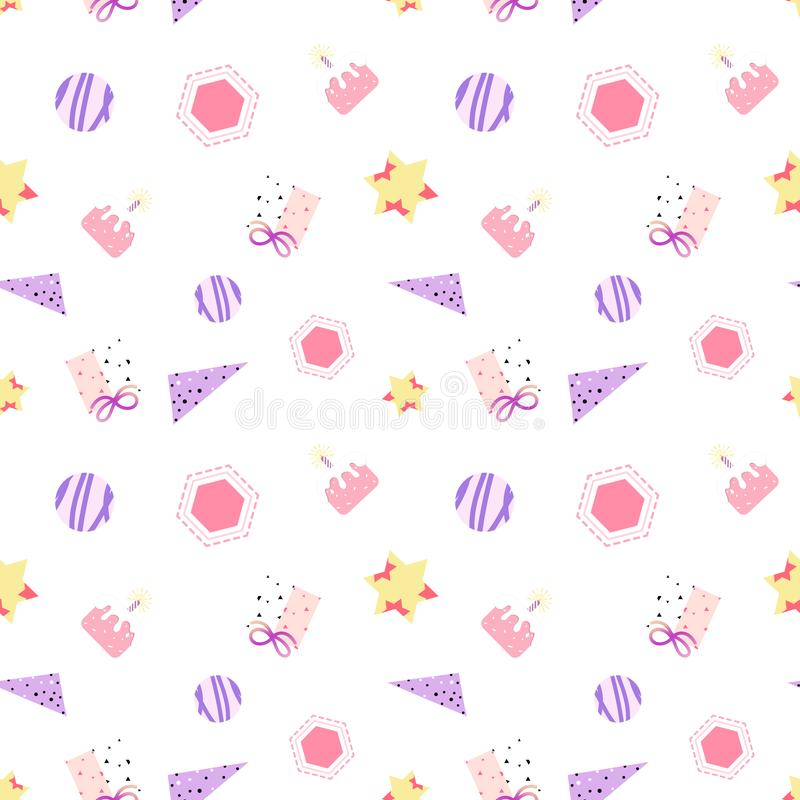 Celebration gift, cute minimal seamless pattern birthday pastel memphis design abstract background vector illustration royalty free illustration