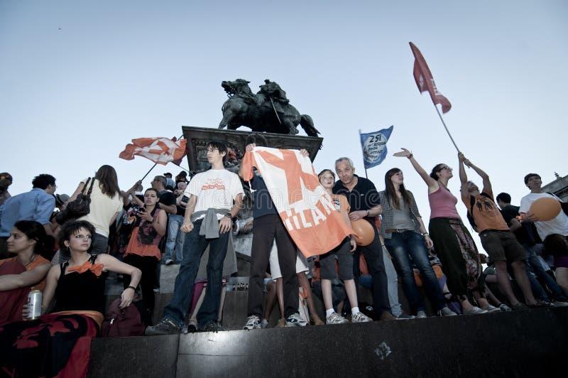 Celebration Giuliano Pisapia Election May, 30 2011 Editorial Photo