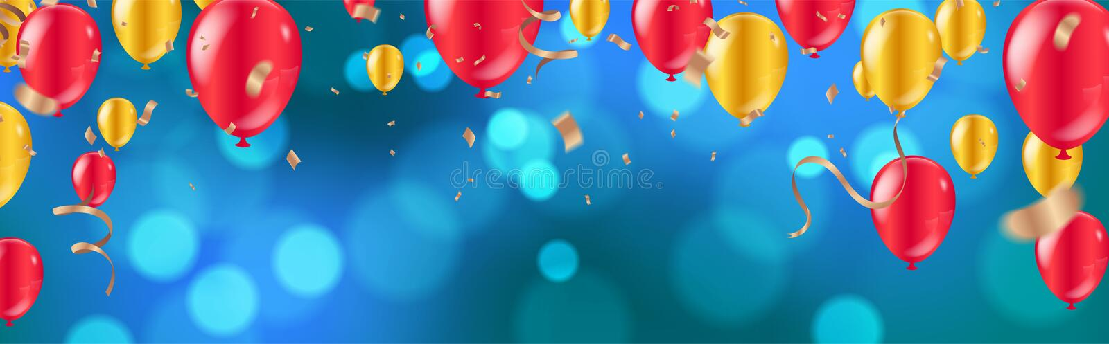 Celebration. glossy golden and red balloons with Dark blue holiday background with colorful shining bokeh and serpentine royalty free illustration