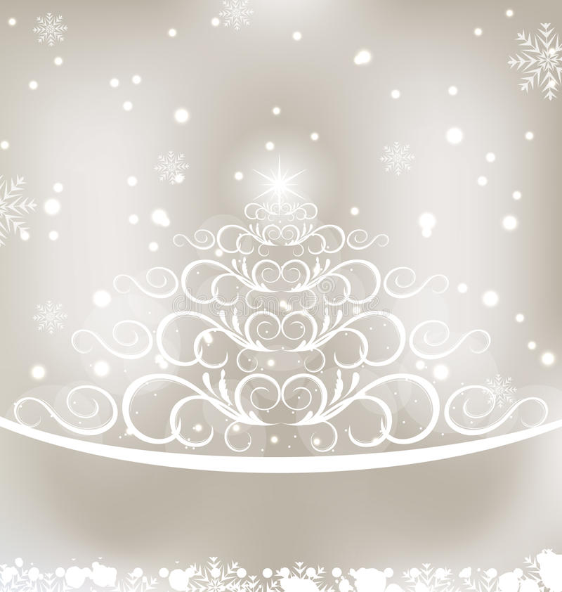 Celebration glowing card with Christmas pine vector illustration