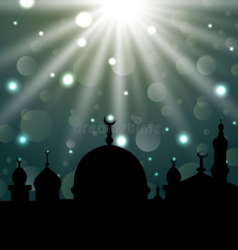 Celebration glowing card for Eid Ul Adha festival vector illustration