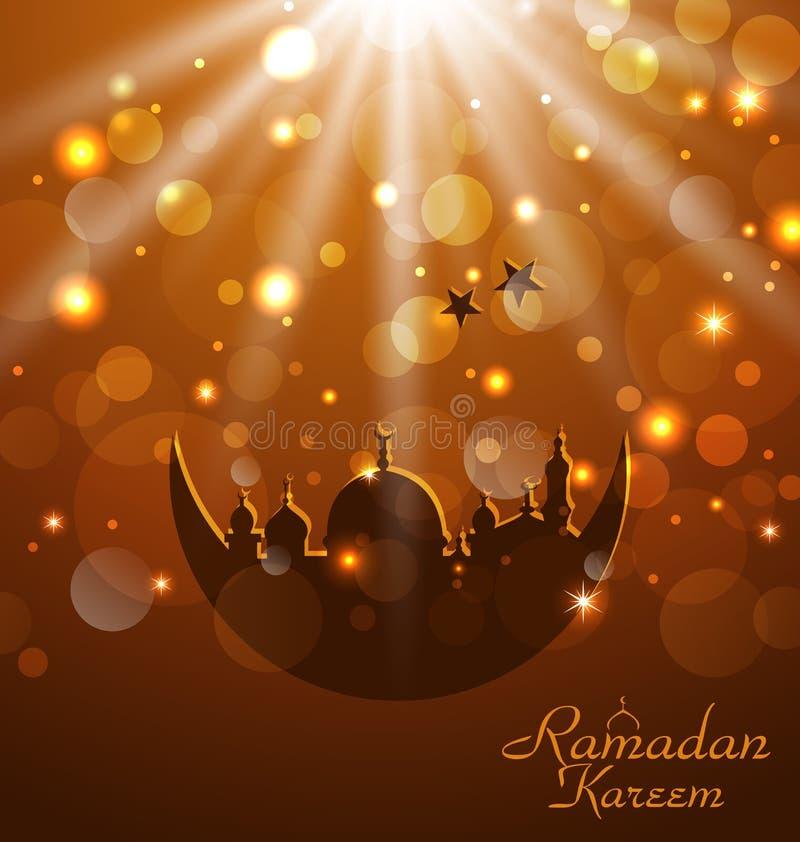Celebration Glowing Card For Ramadan Kareem Stock Photos