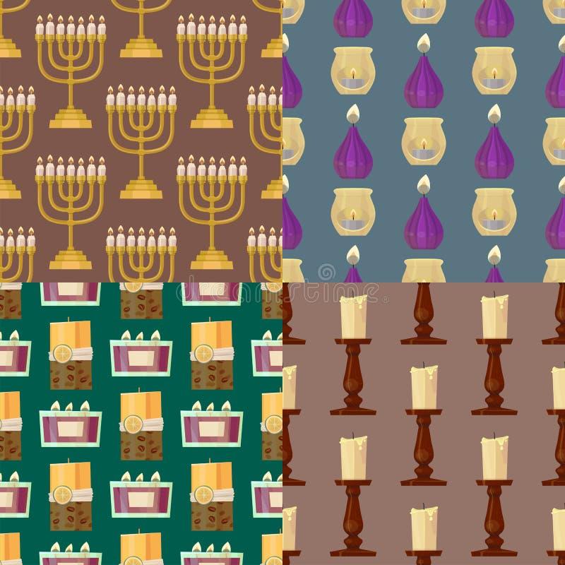 Celebration glowing religion candles seamless pattern background romance night bright flam burning object vector. Celebration glowing religion candles birthday royalty free illustration