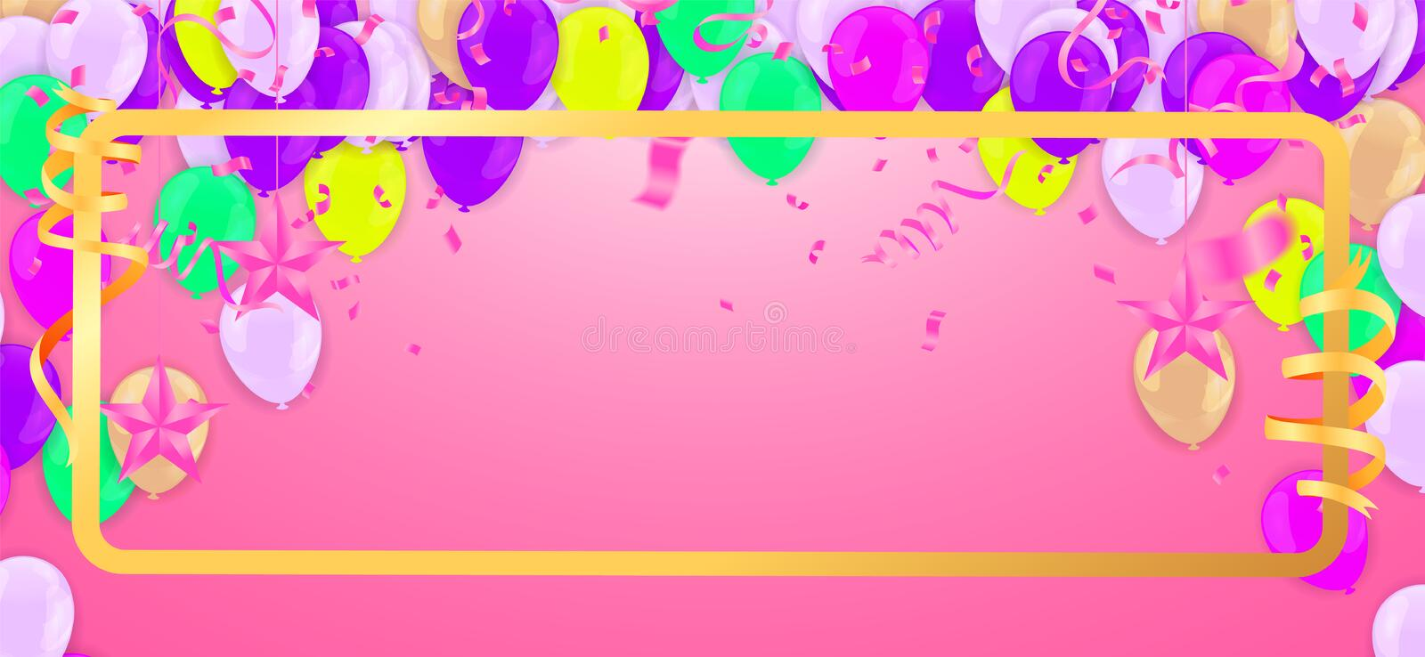 Celebration & Happy birthday banner and balloons colourful isolated on background stock illustration