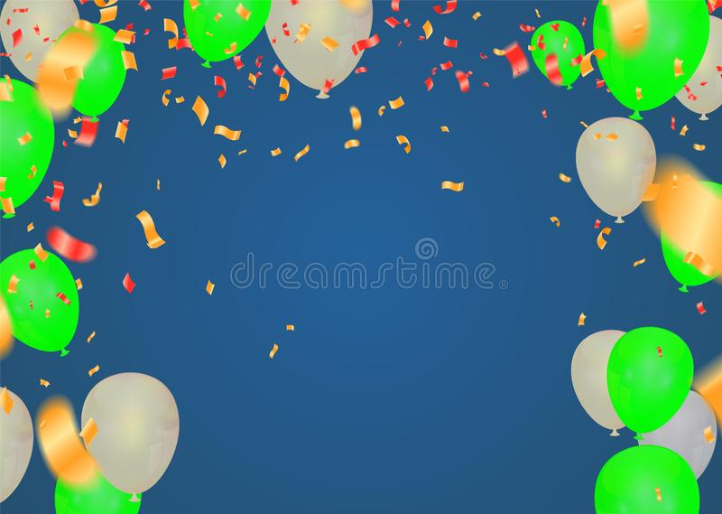 Celebration & Happy birthday banner and balloons Green and white isolated on background royalty free illustration