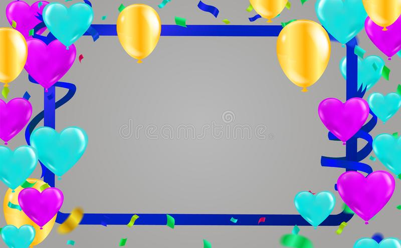 Celebration & Happy birthday banner and balloons Heart  Blue-purple and gold balloons isolated on background stock illustration