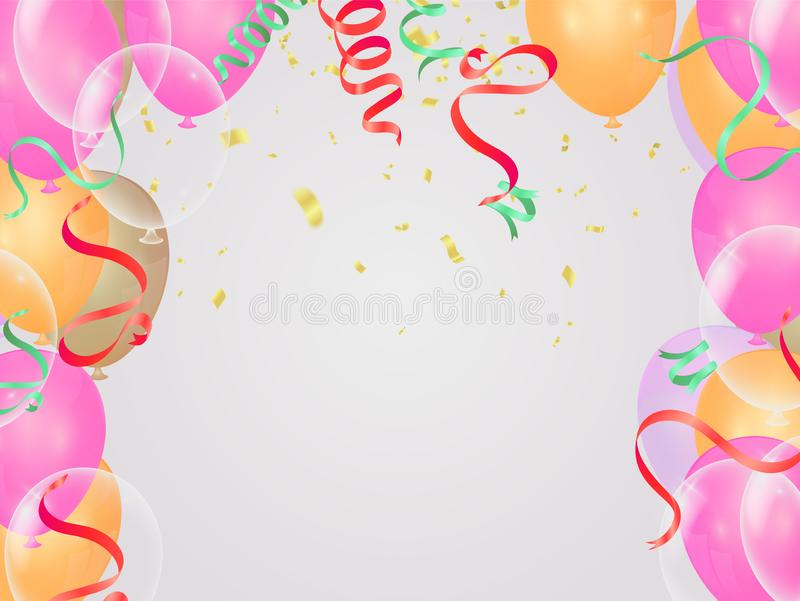 Celebration & Happy birthday banner and balloons Pink gold and translucent balls isolated on background royalty free illustration