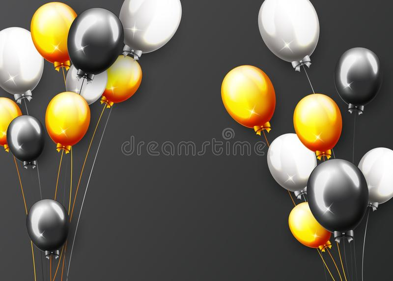 Celebration Happy Birthday Party Banner With Golden Balloons stock illustration