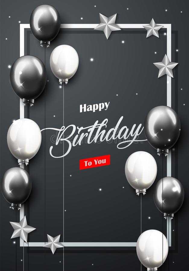 Celebration Happy Birthday Party Banner With Silver And Black Balloons stock illustration