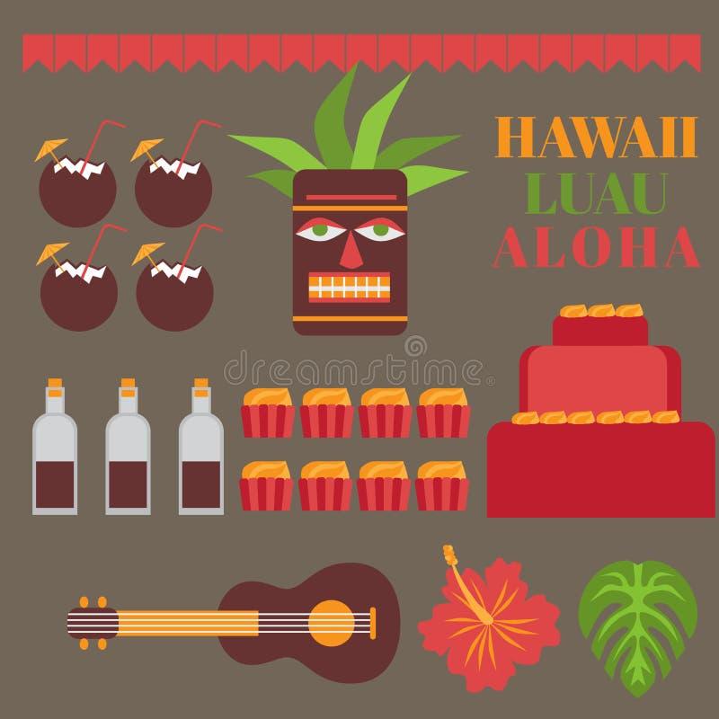 Celebration on hawaii island, Luau party elements. Exotic vacation, summer weekend, hawaiian flowers, tiki mask, ukulele guitar,. Sweet and coconut drink stock illustration