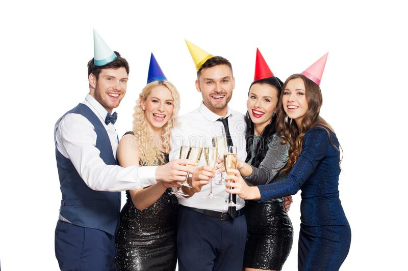 Friends with champagne glasses at birthday party stock images