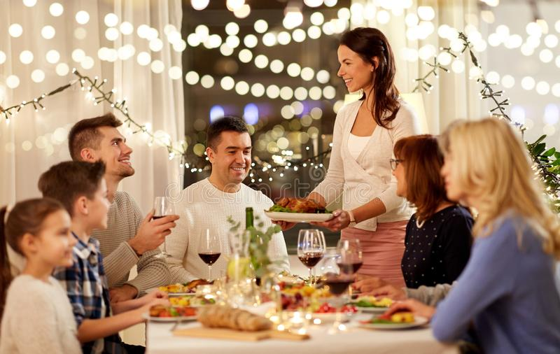 Happy family having dinner party at home royalty free stock photo