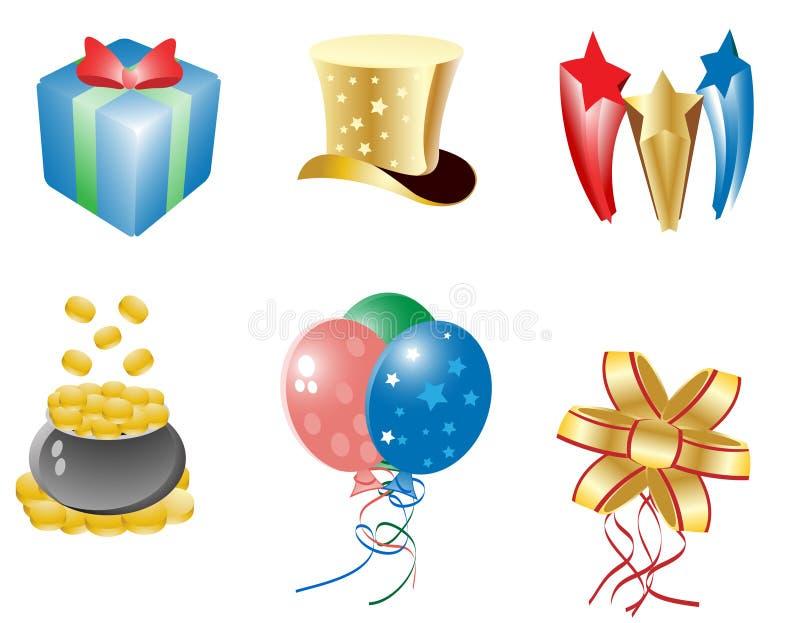 Celebration icon set stock photos