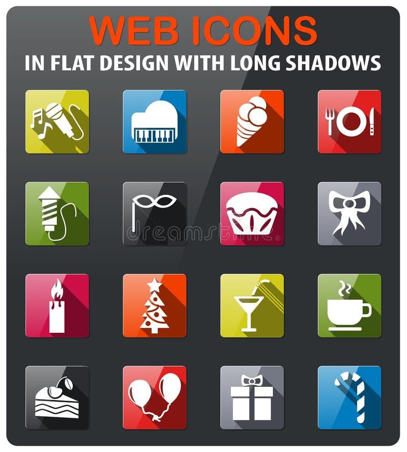 Celebration icon set. Celebration icons set in flat design with long shadow vector illustration