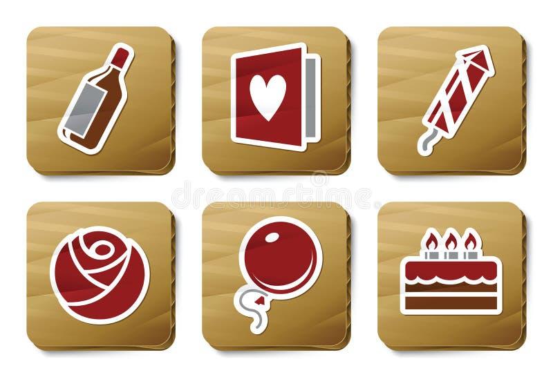 Download Celebration Icons | Cardboard Series Stock Vector - Illustration: 9272500