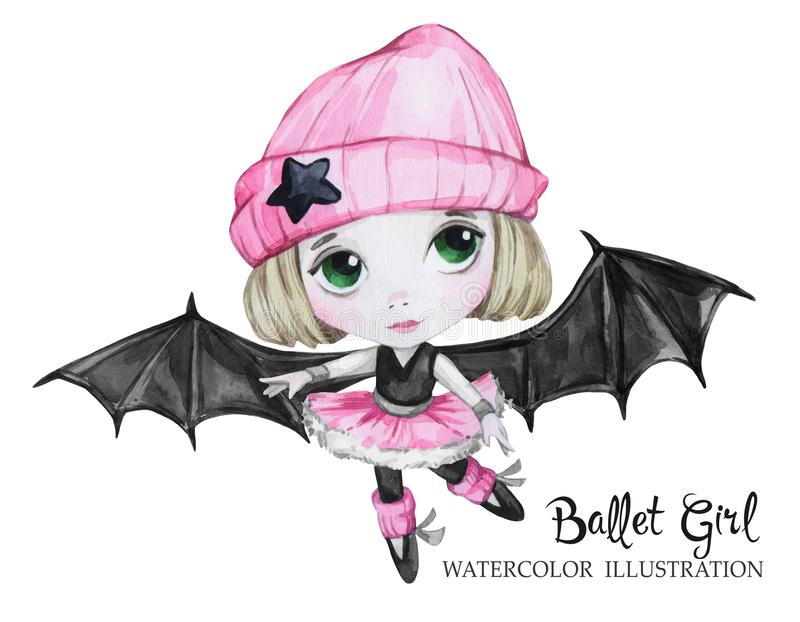 Celebration illustration. Watercolor ballet girl with bat wings. Small witch. Teenager. Halloween horror party. Have fun stock illustration