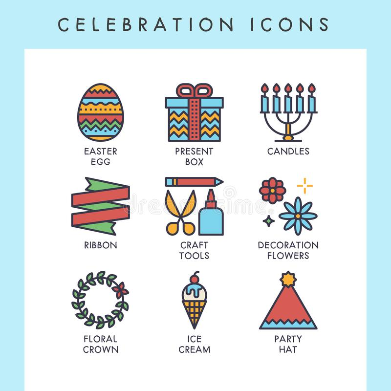 Celebration cute line icons. Celebration line icons for web, app, website, user interface, card, etc royalty free illustration