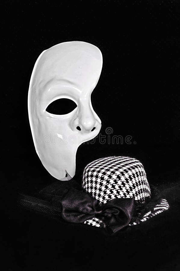 Celebration mask. Celebration half of mask and small hat. Accessories for masquerade royalty free stock image
