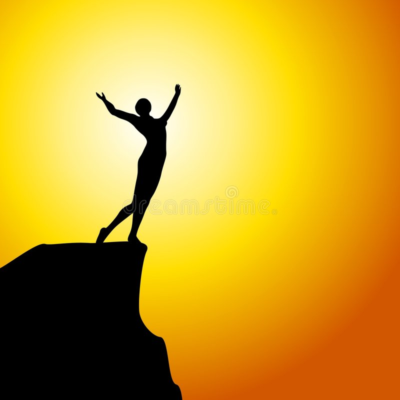 Celebration on The Mountain. An illustration featuring a silhouette standing on top of a mountain at sunset with arms raised in a celebration pose