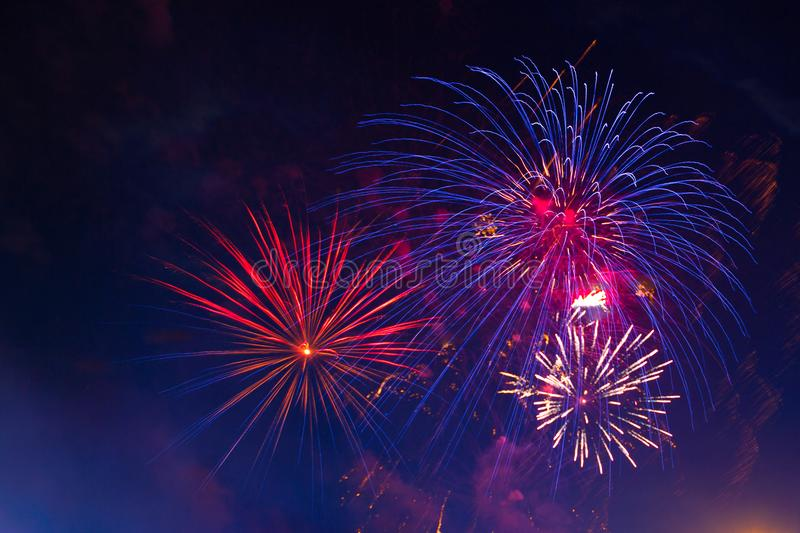 Celebration multicolored fireworks, copy space. 4 of July, 4th of July, Independence Day beautiful fireworks royalty free stock photos