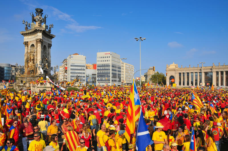 Celebration of the National Day of Catalonia in Barcelona, Spain. BARCELONA, SPAIN - SEPTEMBER 11: 1.8 million people demand to vote in a referendum for the stock image