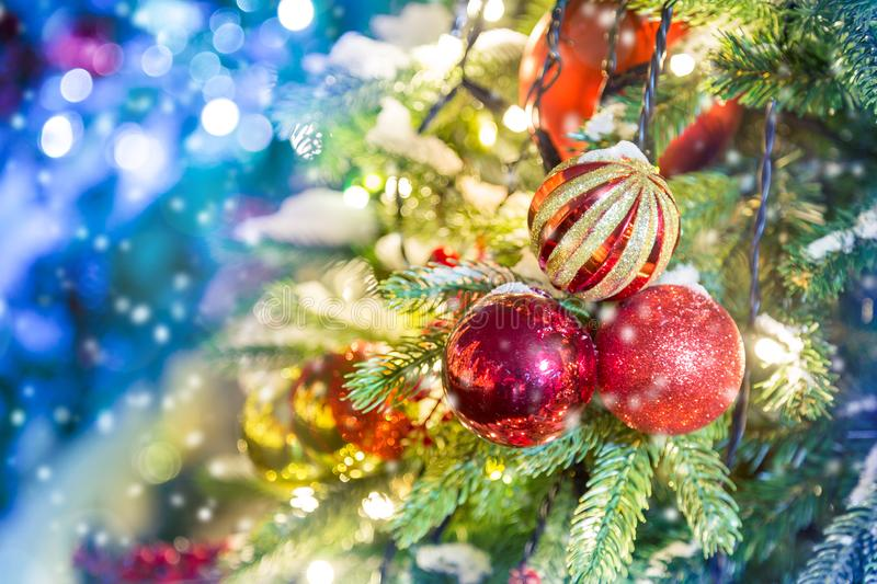 Celebration of New Year and Christmas background. Details of a Christmas tree. Detail shot of Christmas tree branches with stock images