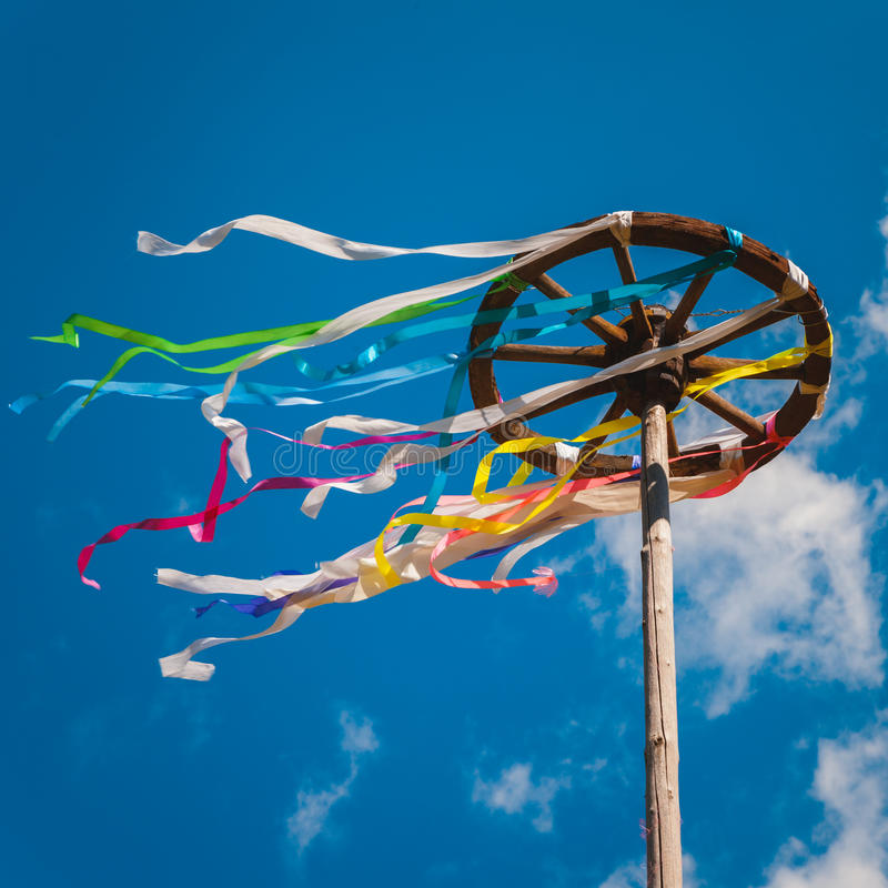 Free Celebration Of Midsummer. Wooden Wheel With Bright Ribbons Stock Image - 42330631