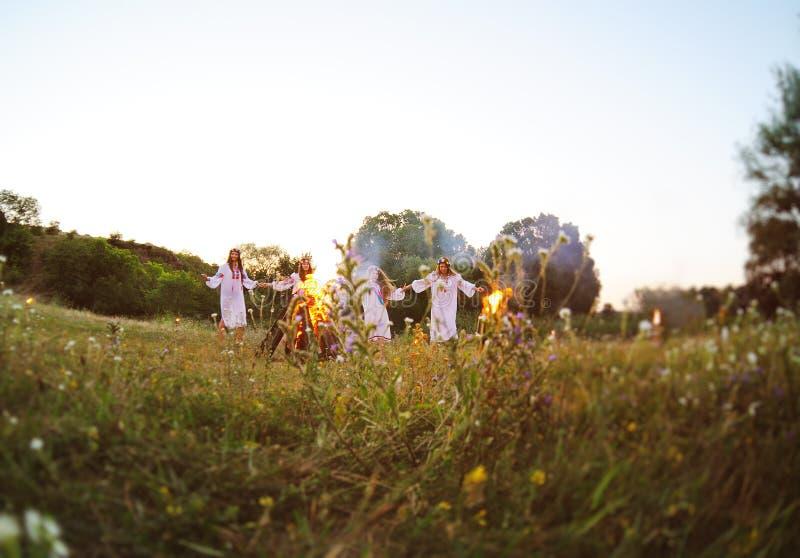 The celebration of the pagan Slavic holiday of Ivan Kupala Day or Midsummer. stock photo