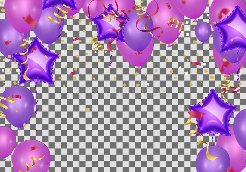 Celebration party background with balloons and serpentine. Greet royalty free illustration