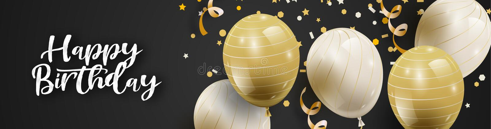 Celebration party background with white and golden balloons and serpentine. royalty free illustration