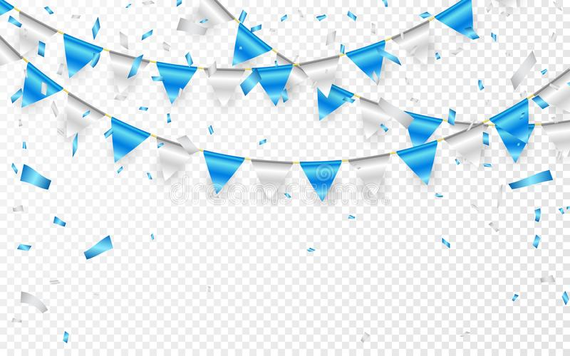 Celebration party banner. Blue and silver foil confetti and flag garland. Vector illustration.  vector illustration