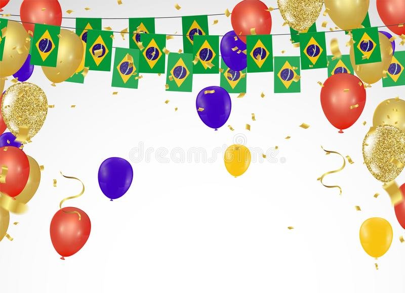 Celebration party banner Brazil flags and Brazil balloons garland with confetti on white Confetti and ribbons flag ribbons royalty free illustration