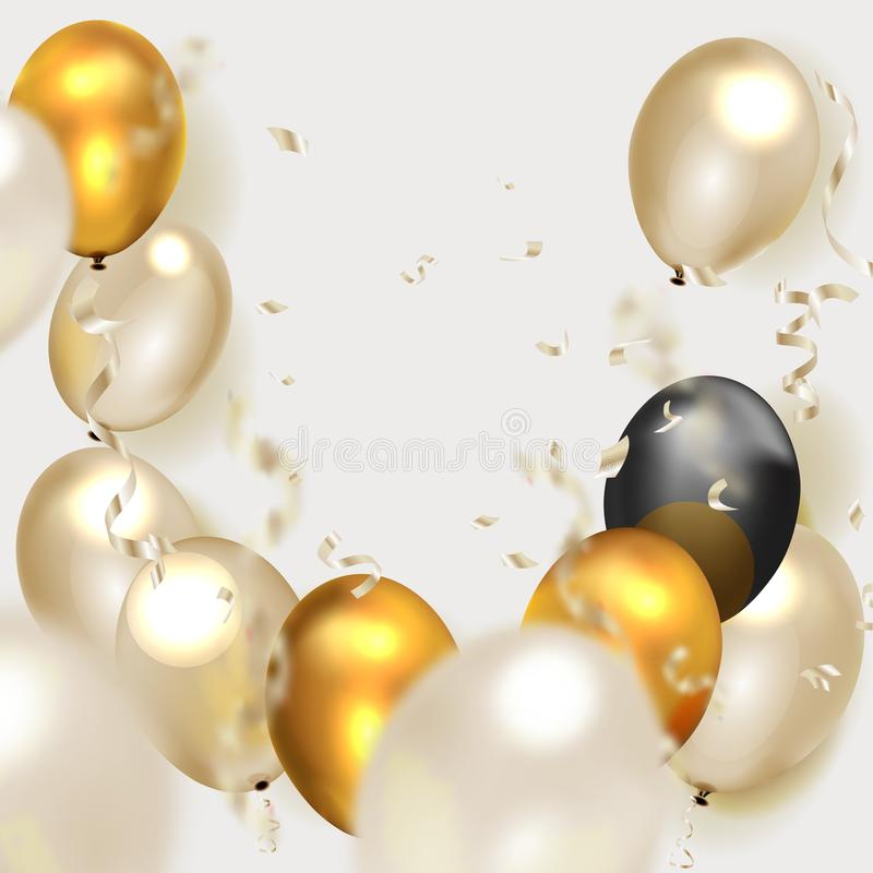 Celebration party banner with Gold balloons background stock illustration