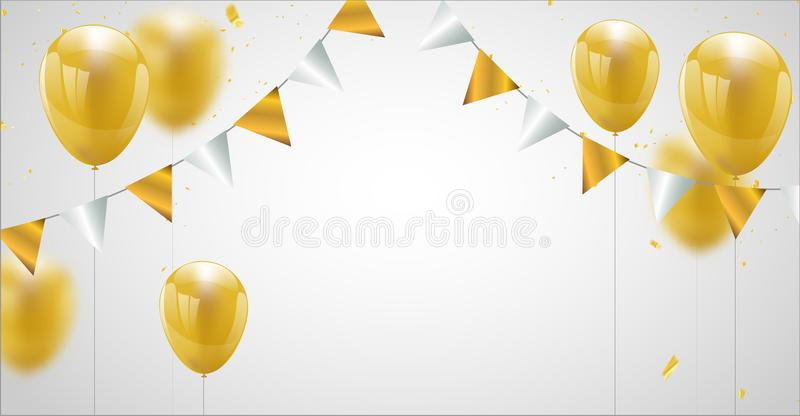 Celebration party banner with Gold balloons background. Sale vector illustration