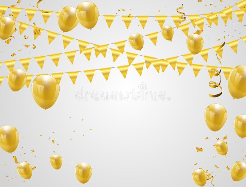 Celebration party banner with golden balloons and serpentine. vector illustration