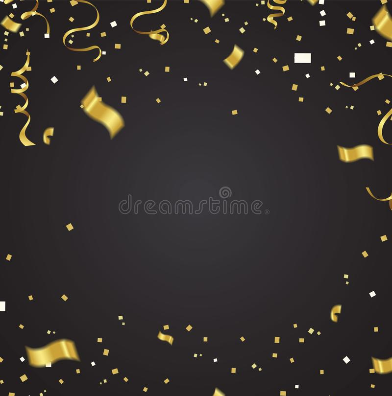 Celebration party banner with golden balloons and serpentine. on vector illustration