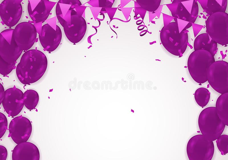 Celebration party banner with purple balloons background. Sale V vector illustration