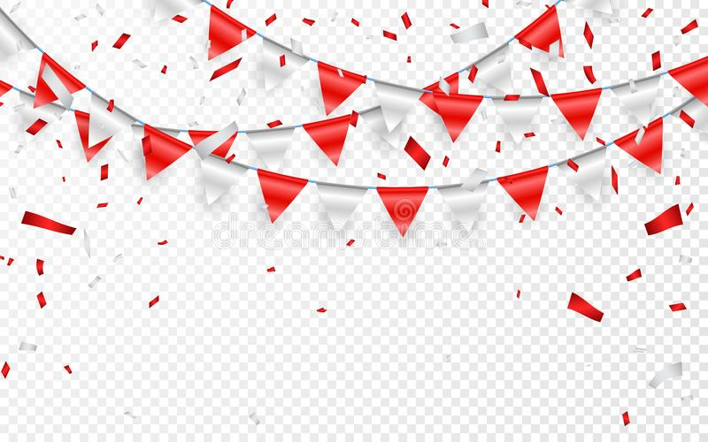 Celebration party banner. Red and silver foil confetti and flag garland. Vector illustration stock illustration