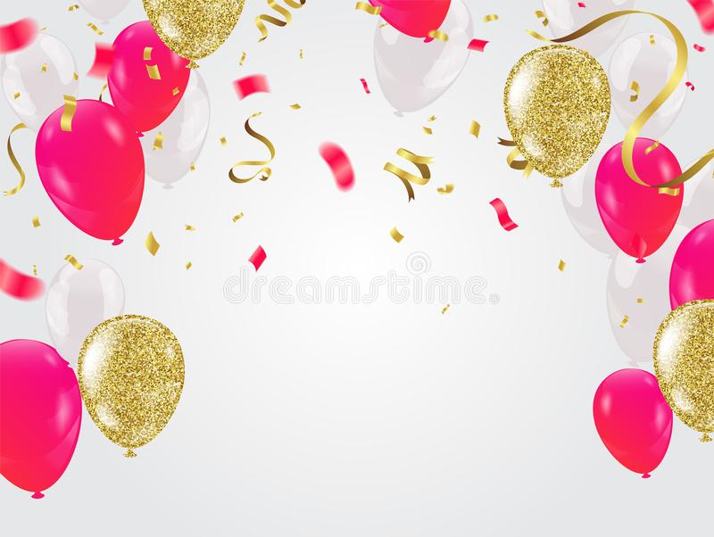 Celebration party banner with Red and white balloons happy birth stock illustration