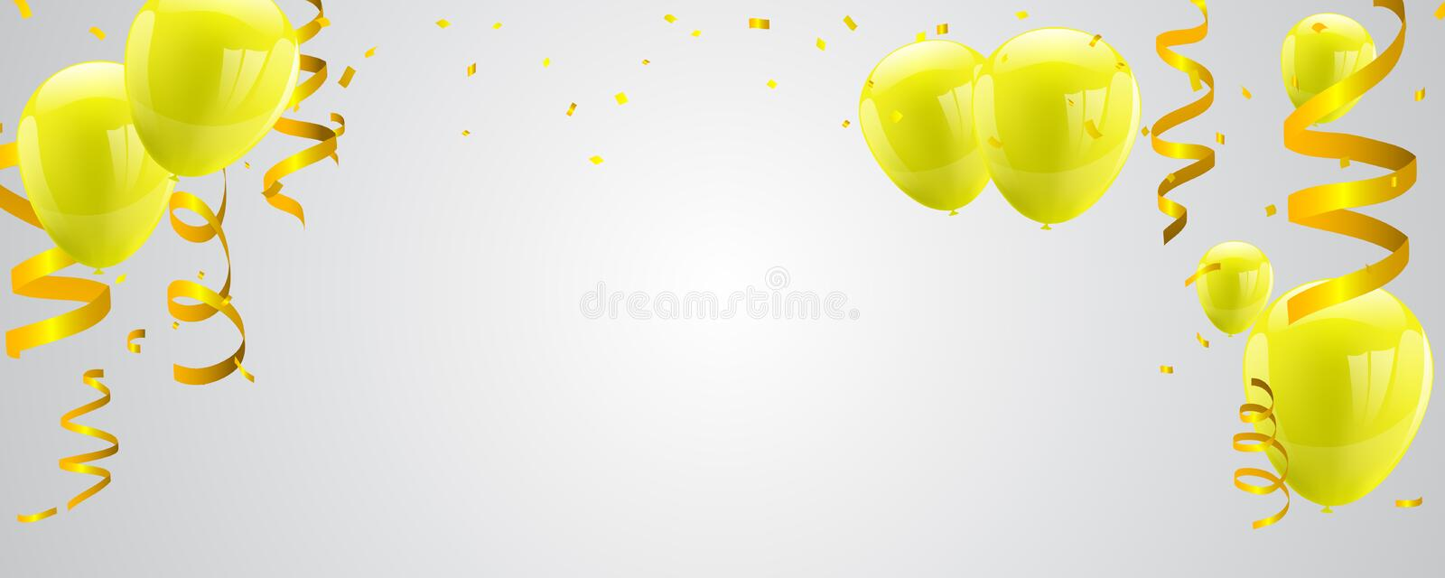 Celebration party banner with Yellow balloons on white background. vector illustration