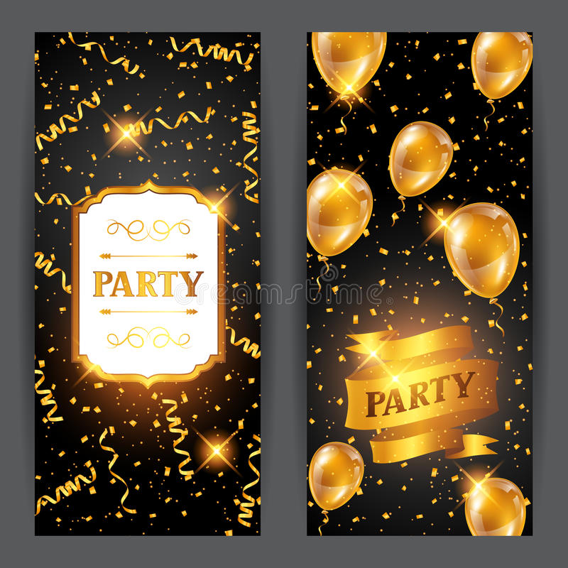 Celebration party banners with golden balloons and serpentine. Greeting, invitation card or flyer royalty free illustration
