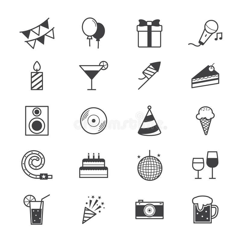 Celebration Party Icons Line. This is graphics vector Illustration icons vector illustration